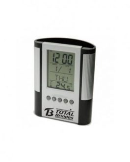 Relógio de Mesa Digital Porta Lápis